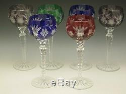 Ajka Martisa Set Of Six 8 1/4 Crystal Cut To Clear Wine Hock Goblets Red Blue