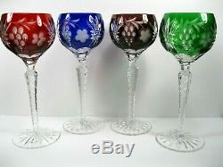 Ajka Martisa Wine 4 Goblet Blue Purple Red Green Cut To Clear Crystal Bohemian