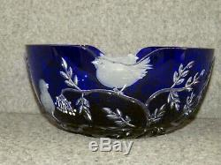 Ajka RARE Crystal Design Guild 9 Hungarian Bowl Cut To Clear Blue Birds NWT