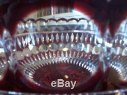 Ajka Red Cut to Clear Crystal Centerpiece Bowl Signed Magna Neimith #532/750