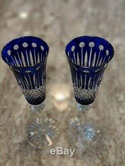 Ajka Xenia King Louis Cobalt Blue Cased Cut To Clear Crystal Champagne Flutes