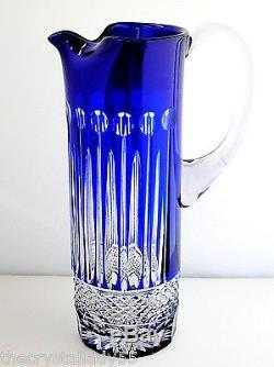 Ajka Xenia King Louis Cobalt Blue Cased Cut To Clear Crystal Water Pitcher