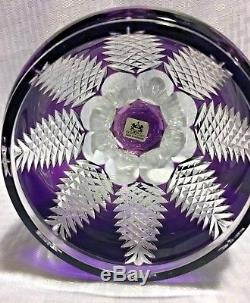 Ajka/design Guild Covered Urn Purple Cut To Clear Crystal Bohemian Signed 80/500