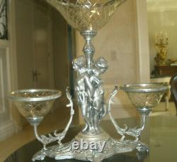 Amazing 21 Antique 19th C Silver Plate Cut Crystal Bowls Centerpiece, Epergne