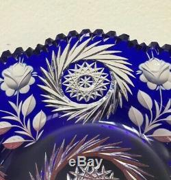 Amazing Bohemian Cobalt Blue Cut Clear Crystal Centerpiece Fruit Bowl EXCLNT 9