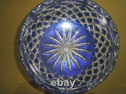 Amazing Rare 8 Vintage Bohemian Cut To Clear Crystal Blue Bowl, Centerpiece