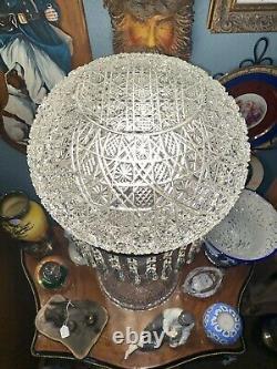 AmericanBrilliant Cut Glass Crystal Mushroom Column Table Lamp 26