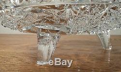 American Brilliant Cut Crystal 3 Footed 8 Bowl