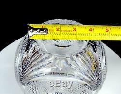 American Brilliant Cut Crystal Diamond Point Hobstar And Fan Lg 5 1/2 Rose Bowl