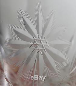 American Brilliant Cut Crystal Set Of 8 Tumblers, Poinsettia, Cut Bottom