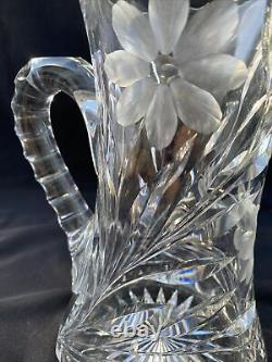 American Brilliant Cut Glass Crystal Heavy Water Pitcher