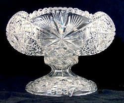 American Brilliant Cut Glass Crystal Pedestal Fruit Egg Nog Punch Bowl Hobstars