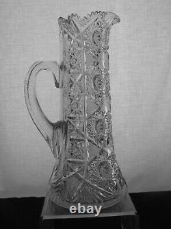 American Brilliant Cut Glass J. Hoare Monarch Pattern Pitcher Antique Crystal