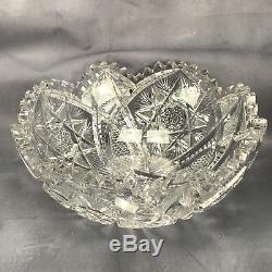 American Brilliant Period ABP Cut Crystal Diamonds Fans & Russian Stars 8 Bowl