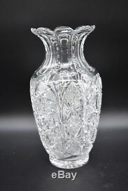 American Brilliant Period ABP Cut Crystal Hobstars Diamonds & Fans 10 Vase