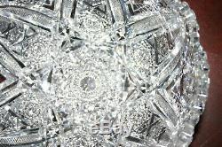 American Brilliant Period Deep Cut Crystal Bowl Motif Huge Six Point Star
