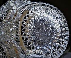 American Brilliant Triple Hobstar Jewel Cut Rare Trefoil Shape Low Bowl Hawkes