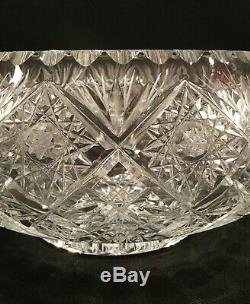 American Brilliant period compote bowl. Cut crystal. Hobstars. 8.5 pounds