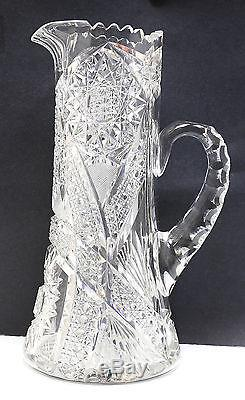 American Hand Cut & Polished Crystal Pitcher with Sawtooth Rim & Hobstar Design
