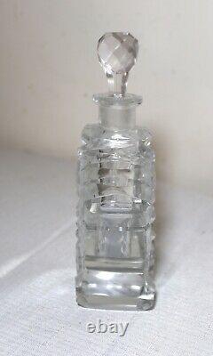 Antique 1800's Czechoslovakian cut crystal perfume cologne perfume glass bottle