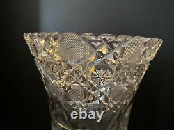 Antique 1910 Mckee American Brilliant Cut Crystal Flower Vase 12tall
