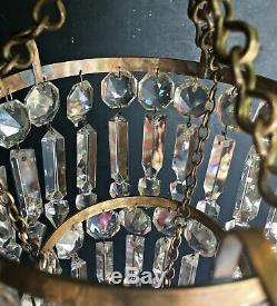 Antique 1920s Brass Albert Cut Crystal 3 Tier Chandelier Ceiling Lamp Light VTG