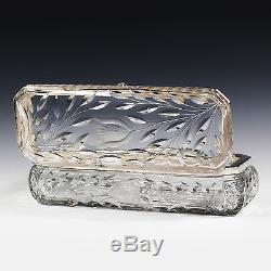 Antique ABP American Brilliant cut crystal glass gloves dresser Box hinged lid
