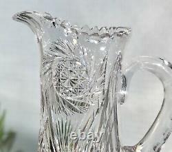 Antique American Brilliant Crystal Water Pitcher Pinwheel, X, Star of David Cuts