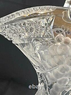 Antique American Brilliant Cut Glass Crystal Abp Rare Charles Tuthill Basket