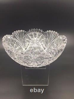 Antique American Brilliant Cut Glass Geometric Leaded Crystal 8 1/4 Bowl VGC