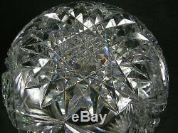 Antique American Brilliant Cut Glass Libbey Signed CORINTHIAN 8 Rose Bowl