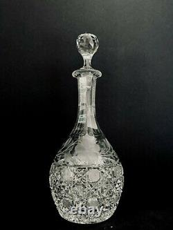 Antique American Brilliant Period 12 Etched and Cut Glass Crystal Decanter