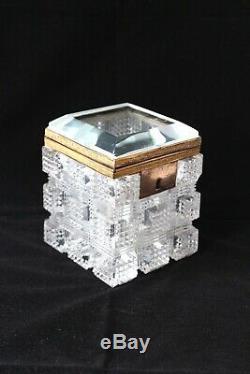 Antique Baccarat gilt bronze mounted cut crystal box c 1900
