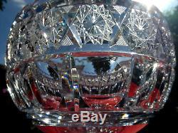 Antique Bohemian Brilliant Cut Glass Lead Crystal Centerpiece Punch Fruit Bowl