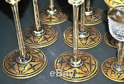 Antique Bohemian Julius Muhlhaus Cut & Gilded Crystal Glass Stemware 18 Pc Set