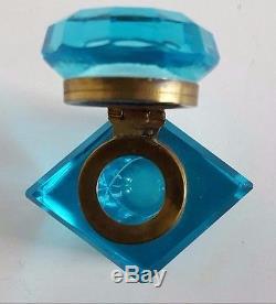 Antique Brilliant Peacock Blue Hand-Blown Cut Crystal Inkwell Aqua Glass