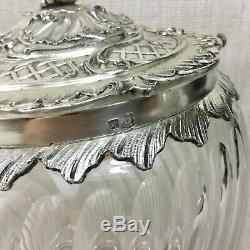 Antique Christofle Cut Crystal Biscuit Box Glass Cookie Jar French Art Nouveau
