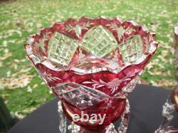 Antique Cranberry Cut Crystal Glass Mantle Lustres Germany Original Birks Label