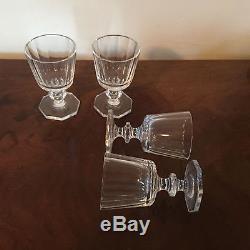 Antique Crystal White Wine Stem Glass Goblet Set of 4 Facet Cut