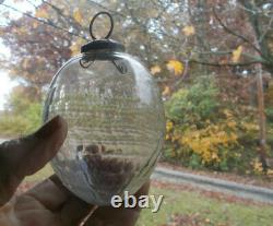 Antique Cut Glass Kugel Christmas Ornament Over 120 Yrs Old Honeycomb Pattern