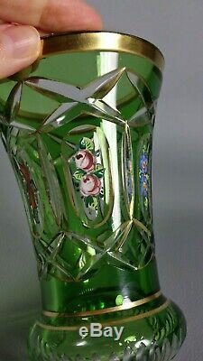 Antique Czech Bohemian Moser Green Cut to Clear Crystal Hand Painted Vase Gilt