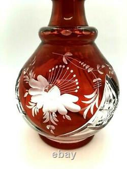 Antique Czech Bohemian Ruby Red Etched and Cut to Clear Crystal Decanter
