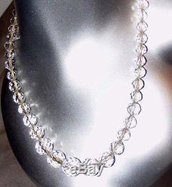 Antique Czech Crystal Cut Glass Faceted Beads Necklace Graduated Ball Cut