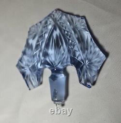 Antique Czechoslovakian Bohemian cut blue crystal cologne perfume glass bottle