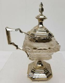 Antique Dutch Sterling Silver MOunted Salt Sugar Dish Cut Glass Crystal Hallmark