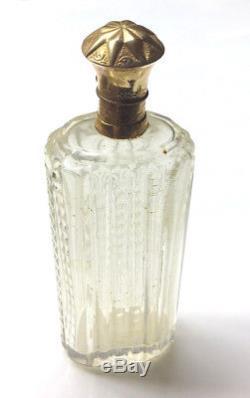 Antique Dutch cut crystal 14k gold perfume bottle