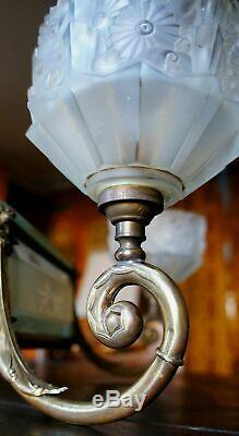 Antique French ART DECO 1930 Bronze Glass crystal cut chandlier 7 light