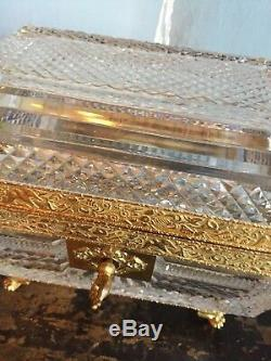 Antique French Baccarat Cut Crystal Box With Ormolu Mounts Paw Feet