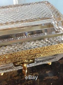 Antique French Baccarat Cut Crystal Box With Ormolu Mounts Paw Feet