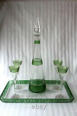 Antique French Baccarat cut crystal stemware decanter set c 1900
